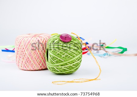different sewing and knitting tools - stock photo