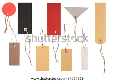 different shapes of empty colored tags on white background - stock photo