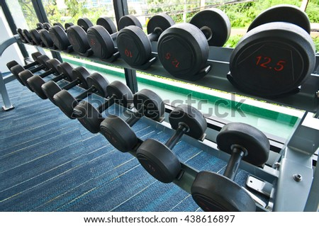 Different sizes and weights dumbbells on stand in fitness room - stock photo