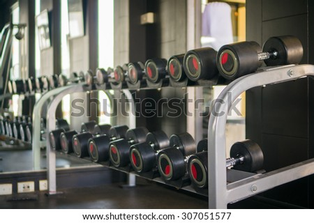 Different sizes and weights dumbbells on stand in modern gym - stock photo