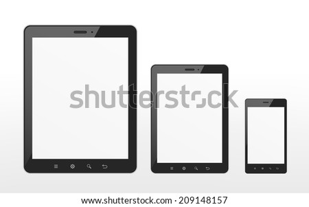 different sizes of tablet and smart phone over white background - stock photo