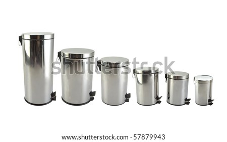 Different sizes trash cans in white background - stock photo