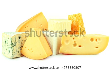 Different sort of cheese isolated on white - stock photo