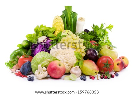 Different sorts of vegetables, fruit , spicy herbs and berry  - stock photo