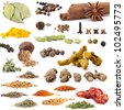 Different spices isolated on white background, includes soft shadows, selective focus - stock photo