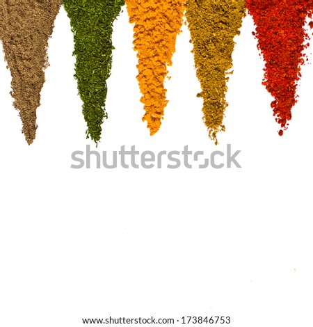 Different spices on a white background - stock photo