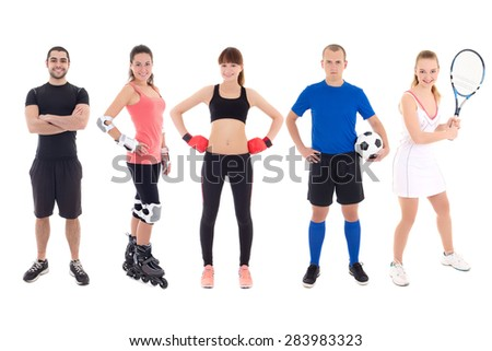 different sports concept - young people in sportswear over white background - stock photo