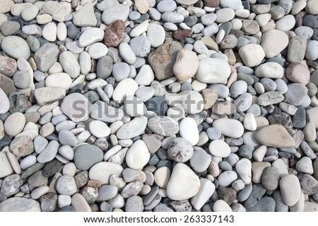 Different stones pebble beach. - stock photo