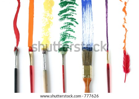 Different Strokes: The feather on the end shows one little guy thinking outside the box. - stock photo