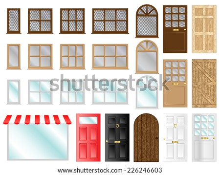 Different style doors and windows illustrations  - stock photo