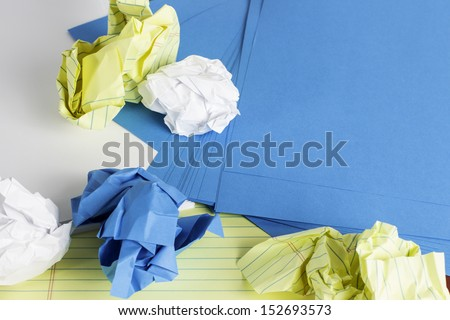 Different styles of paper scattered and crumbled. - stock photo