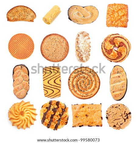 different sweet bakery set isolated on white background - stock photo