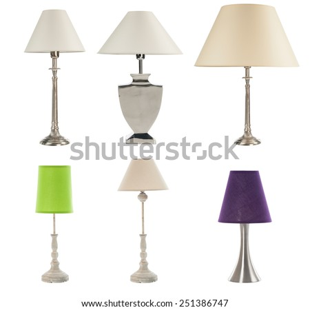 different table lamps on white bckground - stock photo