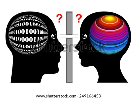 Different Thinking. Man and woman seam to have different brain hemispheres which is leading to misunderstanding  - stock photo