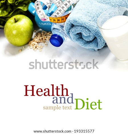 Different tools for sport and healthy food for diet on white background - sport, health and diet concept - stock photo