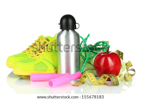 Different tools for sport isolated on white - stock photo