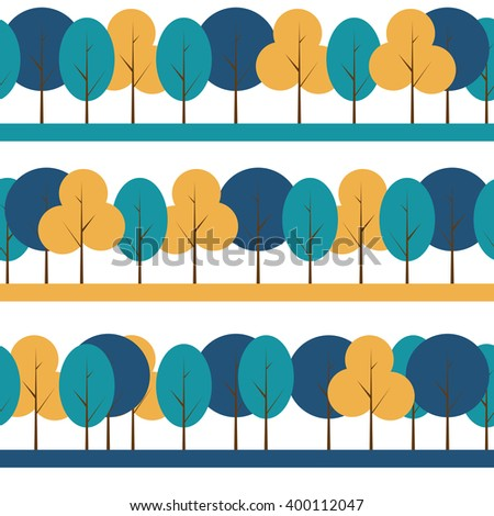 Different Trees Natural Seamless Pattern Background Illustration - stock photo