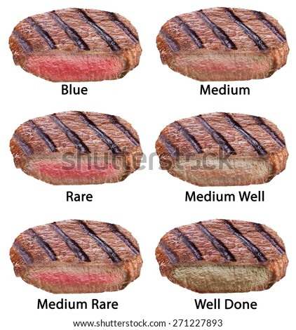Different types of beef steaks isolated on a white background. File contains clipping paths. - stock photo
