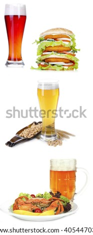 Different types of beer in glasses and snacks, isolated on white - stock photo