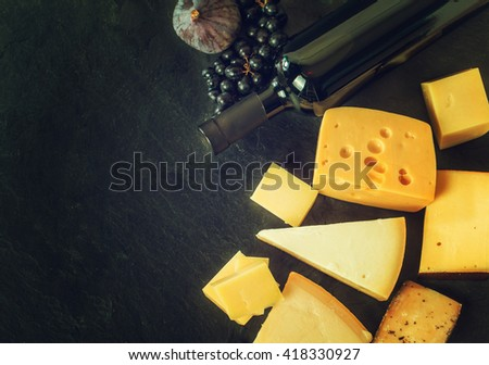 Different types of cheeses - stock photo