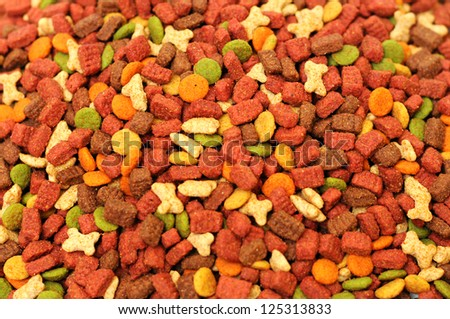 Different types of dry food for pets - stock photo