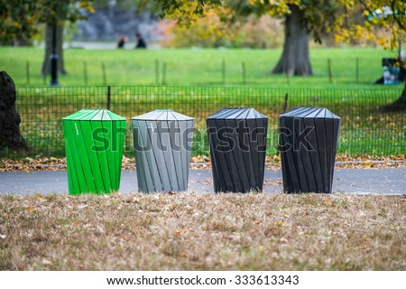 Different types of garbage bins for trash sorting - stock photo