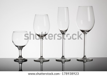 Different types of glasses for alcohol drink - stock photo