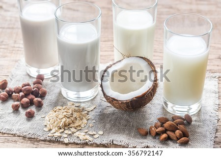 Different types of non-dairy milk - stock photo
