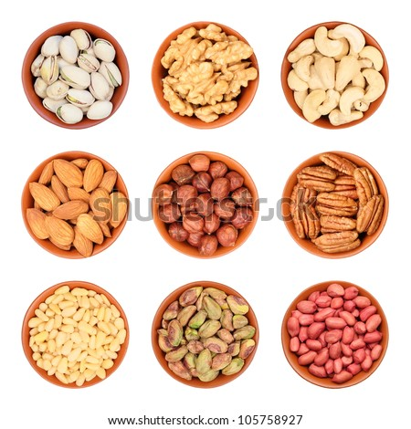 different types of nuts, pistachios, walnuts, cashews, almonds, hazelnuts, pecans, pine nuts, peeled pistachios, peanuts - stock photo