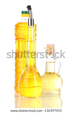 Different types of oil isolated on white - stock photo