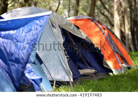 Different types of tents in the forest  - stock photo