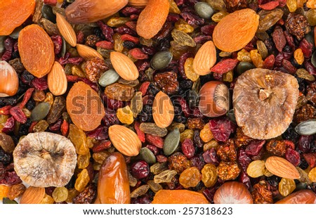 Different varieties mix of dried fruits and nuts for backgrounds or textures  - stock photo