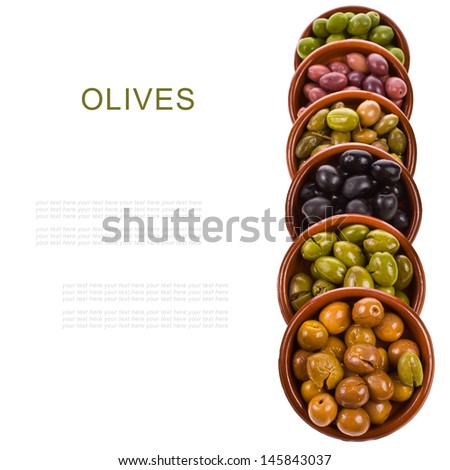 different varieties of olives marinated in traditional clay bowls   isolated on white background - stock photo