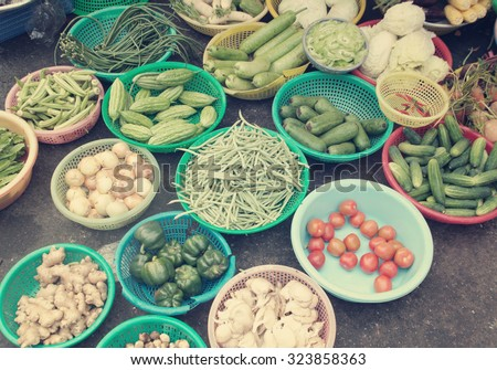 Different vegetables at a street market in asia - stock photo