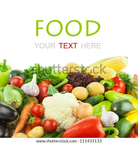 Different Vegetables / Big Assortment of Food / on white background with copy space - stock photo