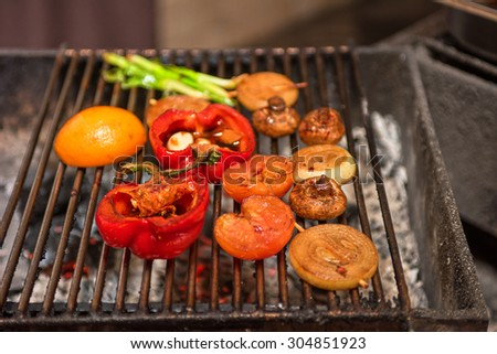 Different vegetables on the grill  - stock photo