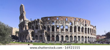 different view of colosseum - rome - stock photo