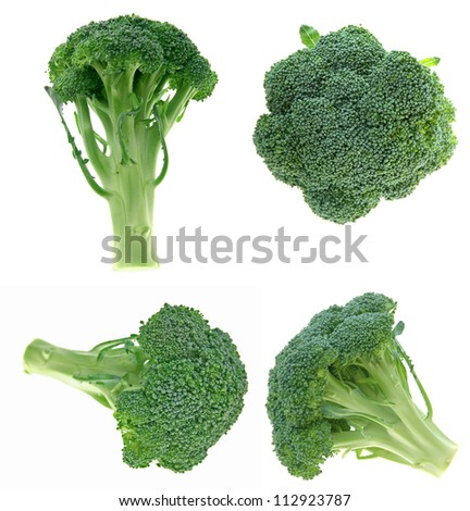 different views of broccoli on white background - stock photo