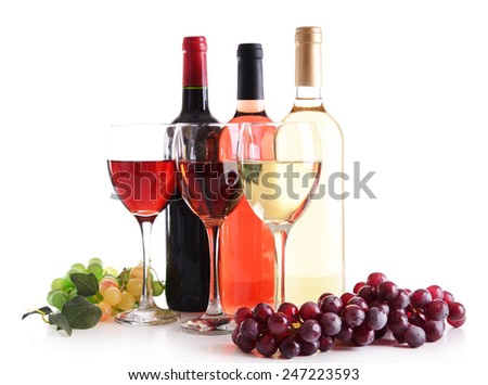 Different wine isolated on white - stock photo