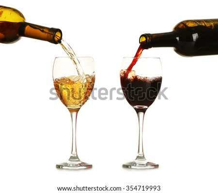 Different wine pouring in glasses, isolated on white - stock photo