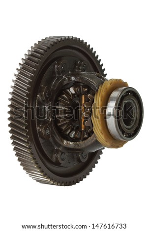 Differential of the gearbox, isolated on white background - stock photo