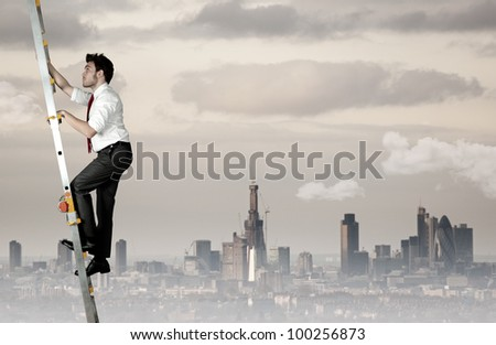 Difficult career of a businessman - stock photo