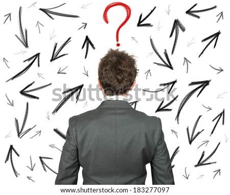 Difficult choices of a businessman - stock photo