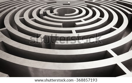 Difficult circular maze - stock photo