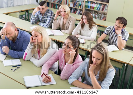 Difficult learning process of professionals at training session . Selective focus - stock photo