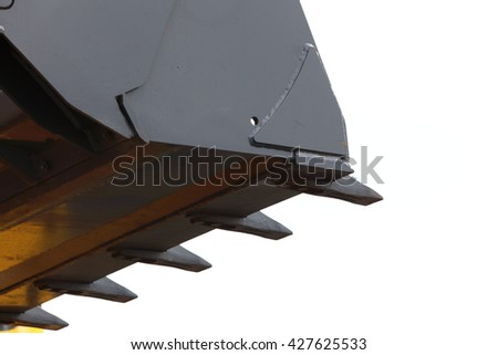 Digger excavator bucket bulldozer shovel industrial detail isolated on white background - stock photo