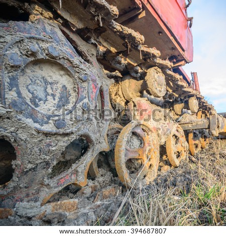 digger, old heavy duty construction equipment, industrial series - stock photo