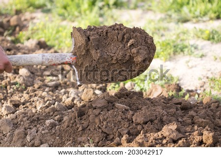 Digging the earth with a shovel and throw aside - stock photo