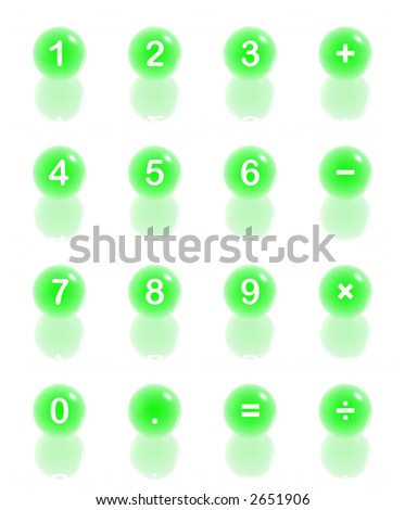 digit 3D icons (light green set) - stock photo