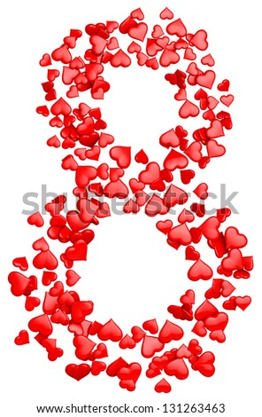 digit eight consisting of red hearts as element of decorations for March 8. International Women's Day - stock photo